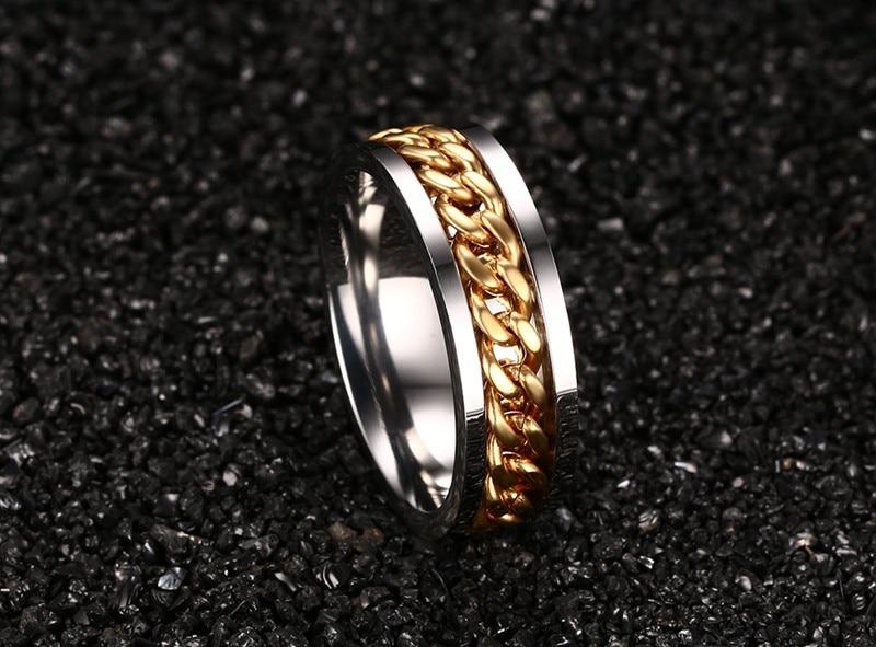 Spinner Chain Shaped Men's Metal Ring