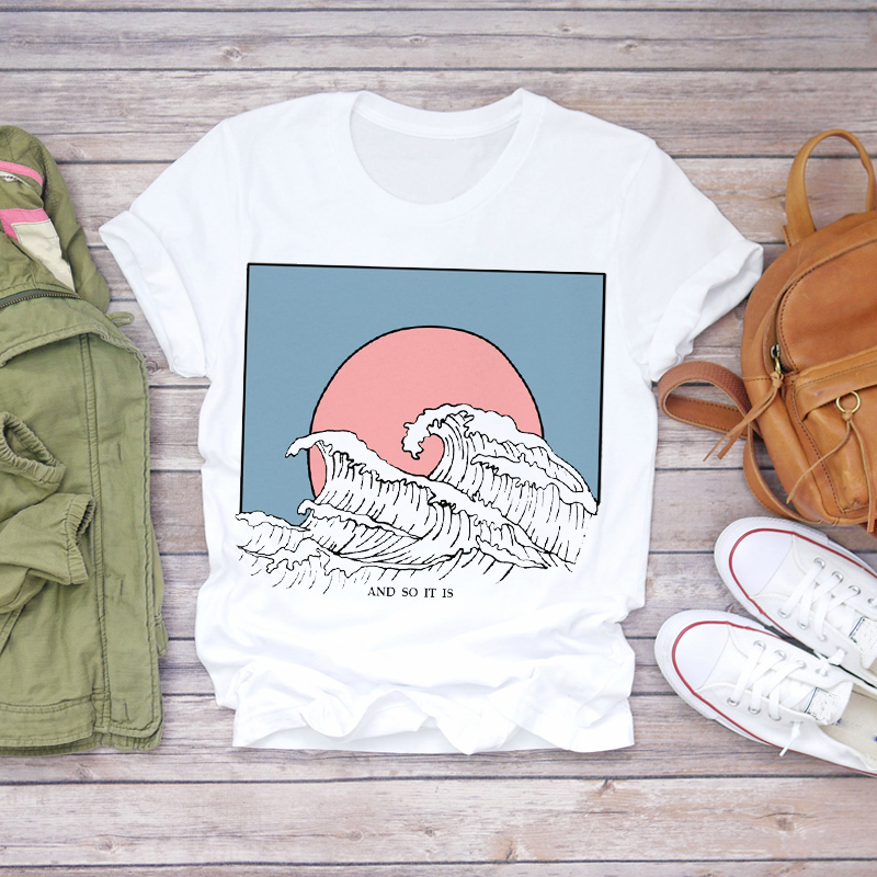 Women 2020 Summer Fashion Wave Painting Print Short Sleeve Lady T-shirts Top T Shirt Ladies Womens Graphic Female Tee T-Shirt