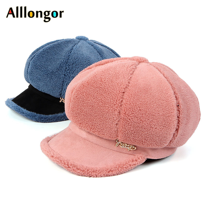 2019 Autumn Winter Octagonal Hats Women Gavroche Femme Fleece Wool Women Berets Solid Plain Vintage Korea Peaked Newsboy Caps