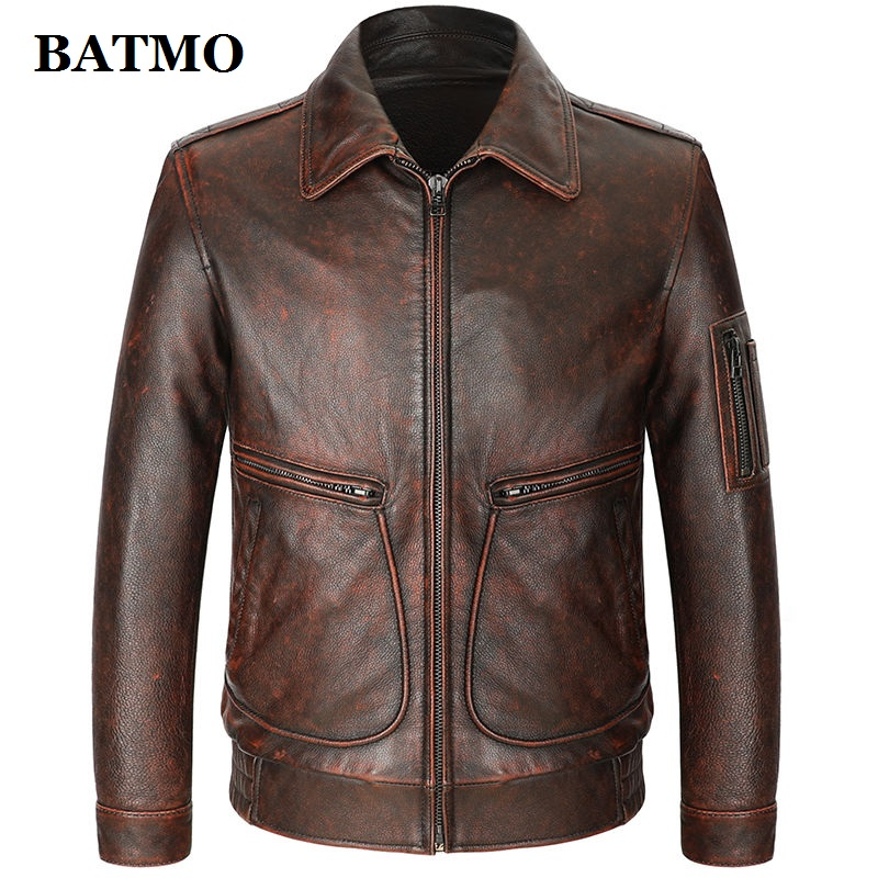 BATMO 2020 New Arrival Sping Natural Cow Leather Jackets Men,real Leather Jackets,plus-size S-4XL PDD06