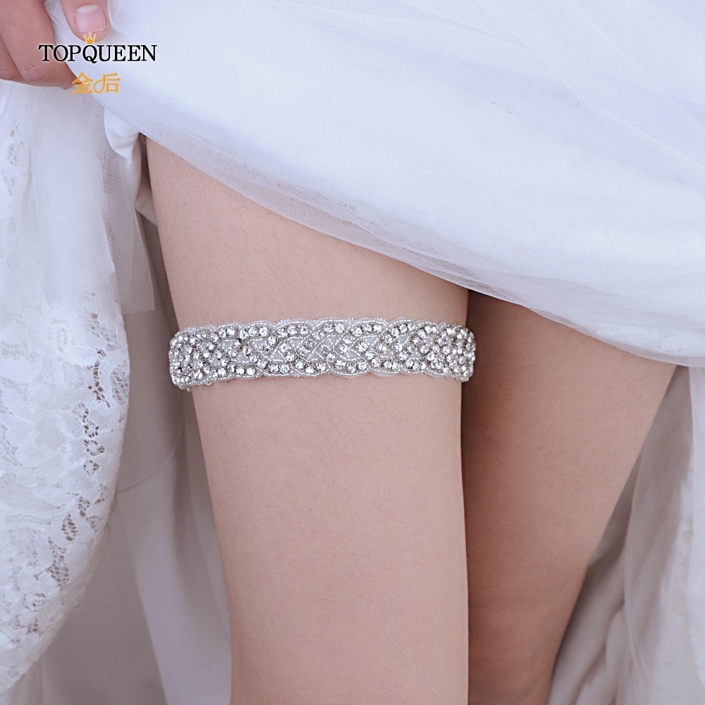 TOPQUEEN  Fahion Soft Sexy Women Girl Lace Rhinestone Wedding Party Bridal Lingerie Cosplay Leg Garter Belt Suspender THS216