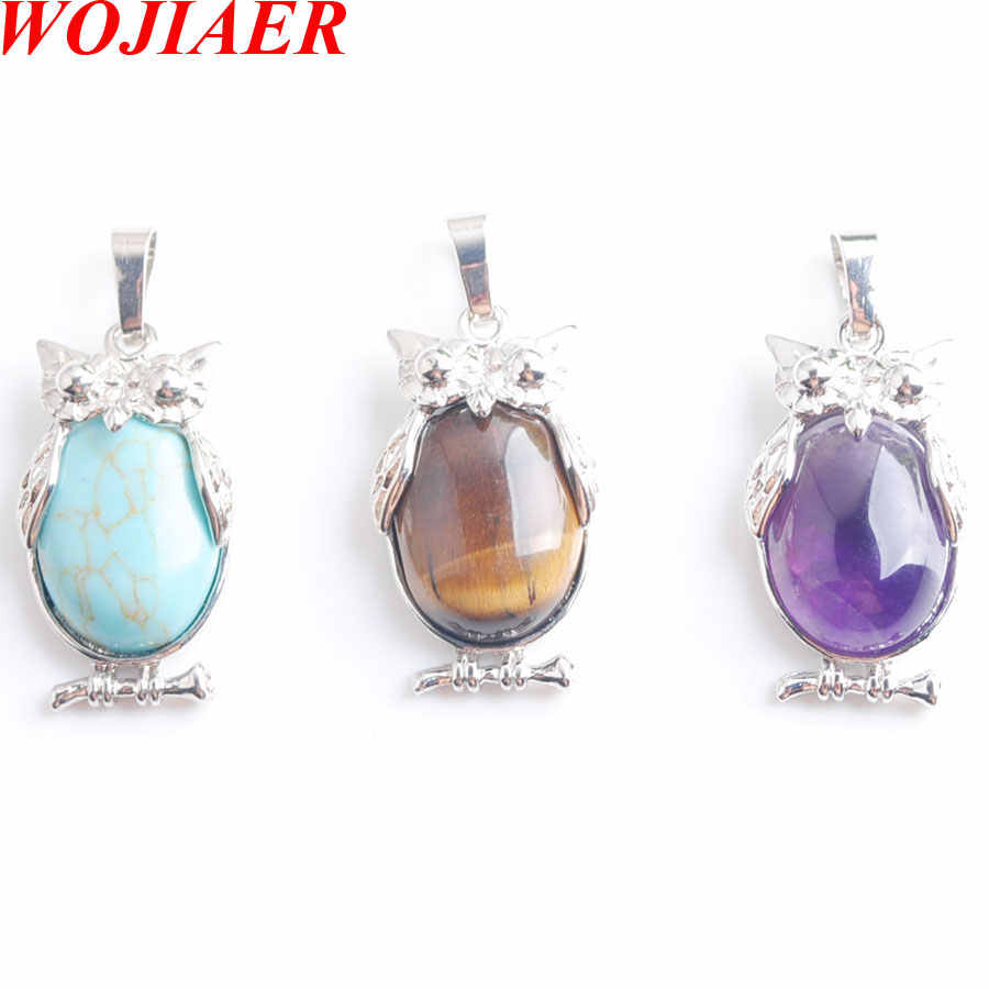 WOJIAER Eagle Animal Pendants for Girl Chakra Reiki Natural Oval Convex Gem Stone Beads Hand Crafted Chain 18Inche LBN805