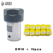 Pince à ressort de haute précision ER16 1 2 3 4 5 6 7 8 9 10mm, avec arbre moteur ER16, pour Machine à graver, outil de fraisage de tour, 10 pièces