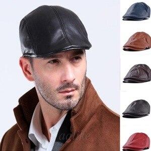 Берет для мужчин и женщин, мужская Кепка из искусственной кожи Newsboy, восьмиугольная кепка для мужчин Wo, Мужская кепка в английском стиле ретр...