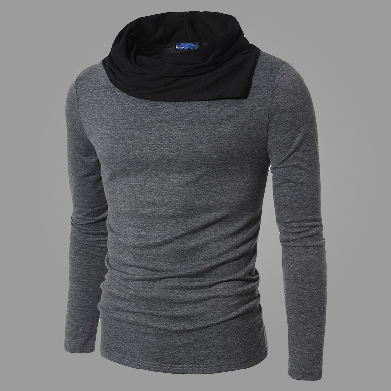 2019 New Mens Sweater Fashion Diagonal Collar Knit Base Shirt Fit Long Sleeve Black Grey Business High End Design Casual Sweater