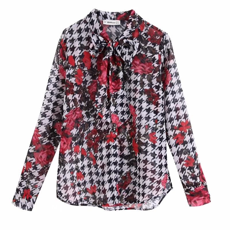 Women Vintage Flower Print Casual Houndstooth Kimono Blouse Shirt Women Long Sleeve Autumn Blusas Chic Bow Femininas Tops LS4267
