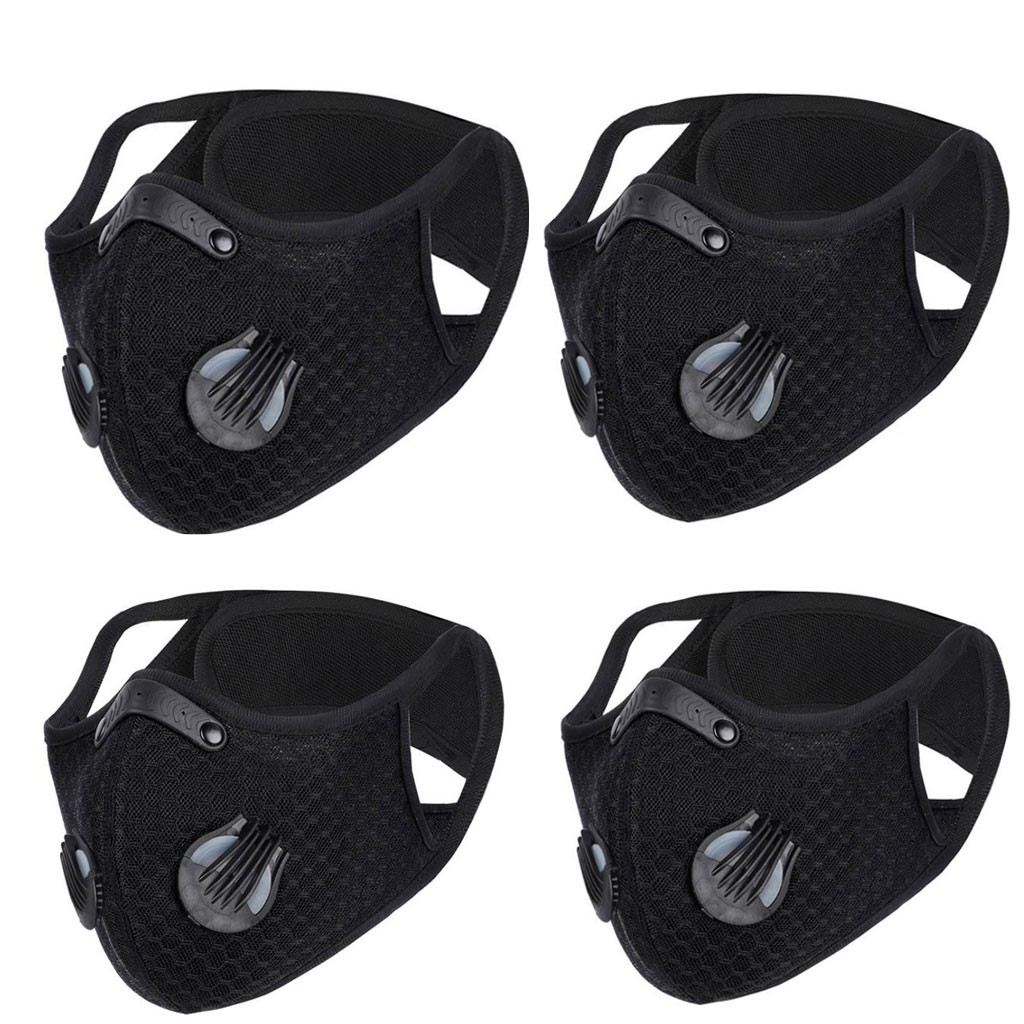 4 Pc Diving Fabric PM2.5 Breathable Anti-Dust Face Mask For Men Women Mouth Mask Windproof Breathable Protection Valves Mask