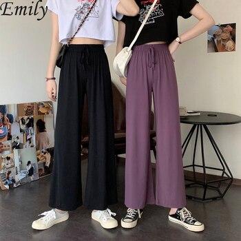 цена на Office Lady Purple Black Capris Wide Leg Pants Korean Pants Loose Wide Leg Pants Female Summer Sense Low Waist Pantalon Femme