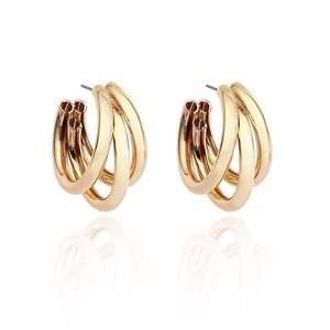 Image 5 - Multi Chunky Hoop Earrings for Women Small Rose Golden Color Metal Alloy Stud Earrings Eco friendly Materials 120 Pairs / Lot