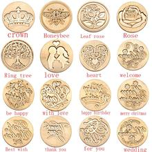 Paint Seal On The Birthday Card Retro Diy Envelope Stamps Rose Crown Tree Ornament Classic Wedding Invitations Wax Seal Stamp