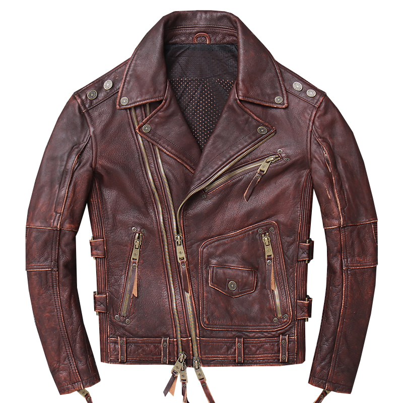 2020 Vintage Brown American Style Men Motorcycle Leather Jacket Plus Size 4XL Genuine Cowhide Slim Fit Biker Coat FREE SHIPPING