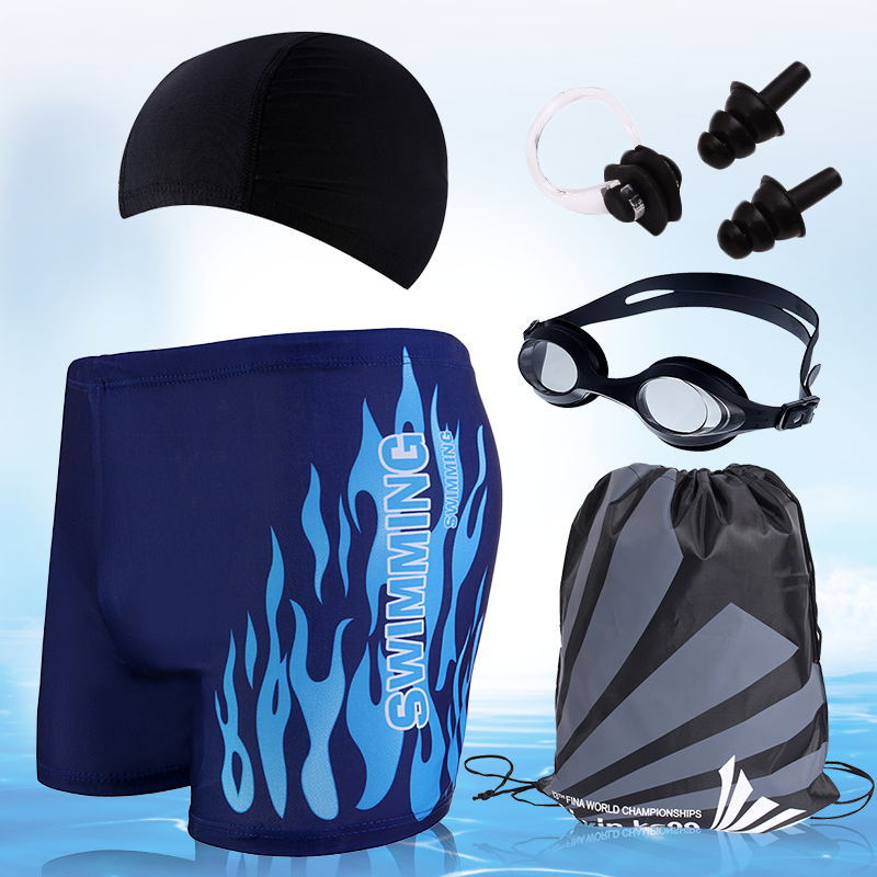 2019 Fashion MEN'S Swimming Trunks Swimming Cap Set Swimming Trunks Hot Springs Large Size Swimsuit Goggles Equipment Five Piece