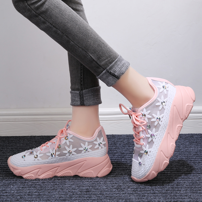 Lucyever 2020 Spring Summer Women Crystal Sneakers New Casual Flat Ladies Vulcanized Shoes Beathable Lace Up Mesh Outdoor Shoes