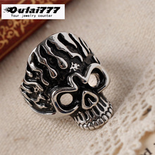 oulai777 ring men stainless steel silver vintage skull big lord of the rings for gothic black Punk 2109 fashion jewelry