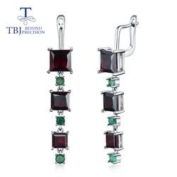 2020 New  Long black garnet emerald clasp earring square natural Gemstones fine jewelry 925 sterling silver rhodolite Iolite