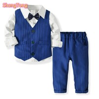 Baby Clothes Boys Outfit Boys Wedding Suits Kids Clothes Toddler Formal Kids Suit Children'S Wear Vest + Shirt + Trousers+Tie