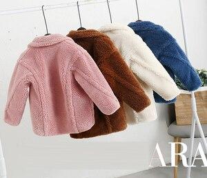 Image 2 - Abrigo de piel sintética para niños de 3 a 12 años, oso de peluche bebé, chaqueta gruesa cálida, abrigo largo para niñas, ropa para niños, prendas de vestir informales