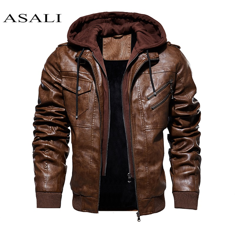 Men Hooded Jacket And Coat Autumn Winter Warm Casual Leather Jackets PU Coats Slim Fit Outerwear Male Zipper Hoody Sportswear
