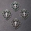 20 шт посеребренные полые в форме сердца гирлянда кресты кулон DIY Шарм христианский браслет серьги изготовление ювелирных изделий 22*20 мм