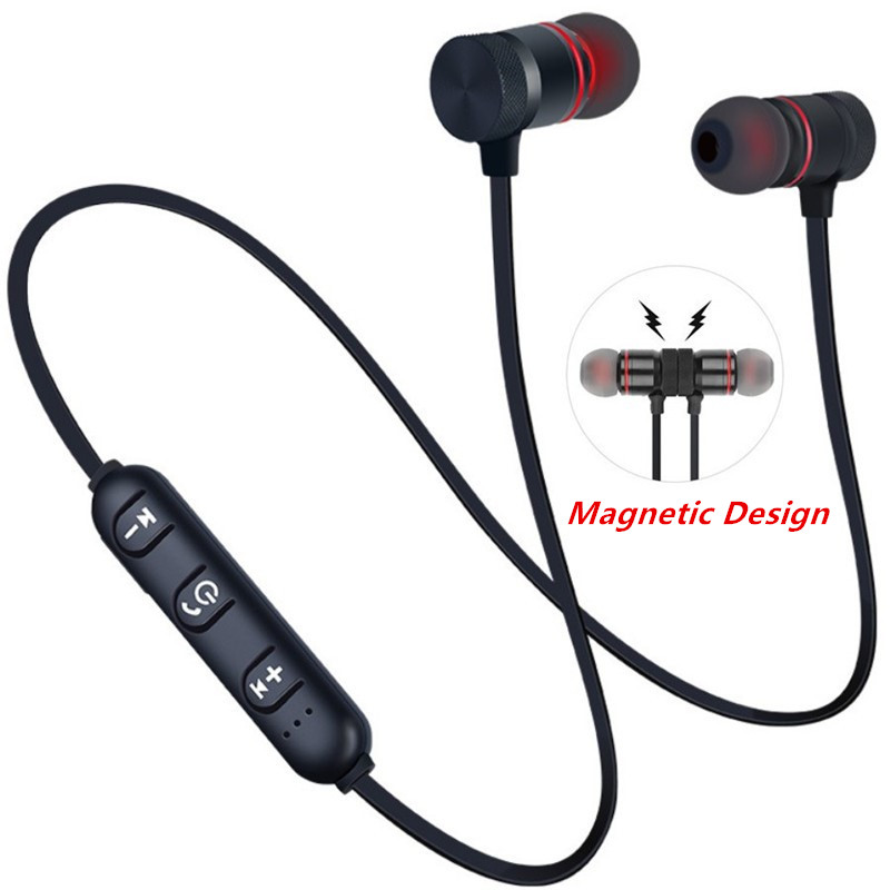 Metal Headphones Stereo Earbuds Neckband Magnetic Music Wireless Bluetooth Sport