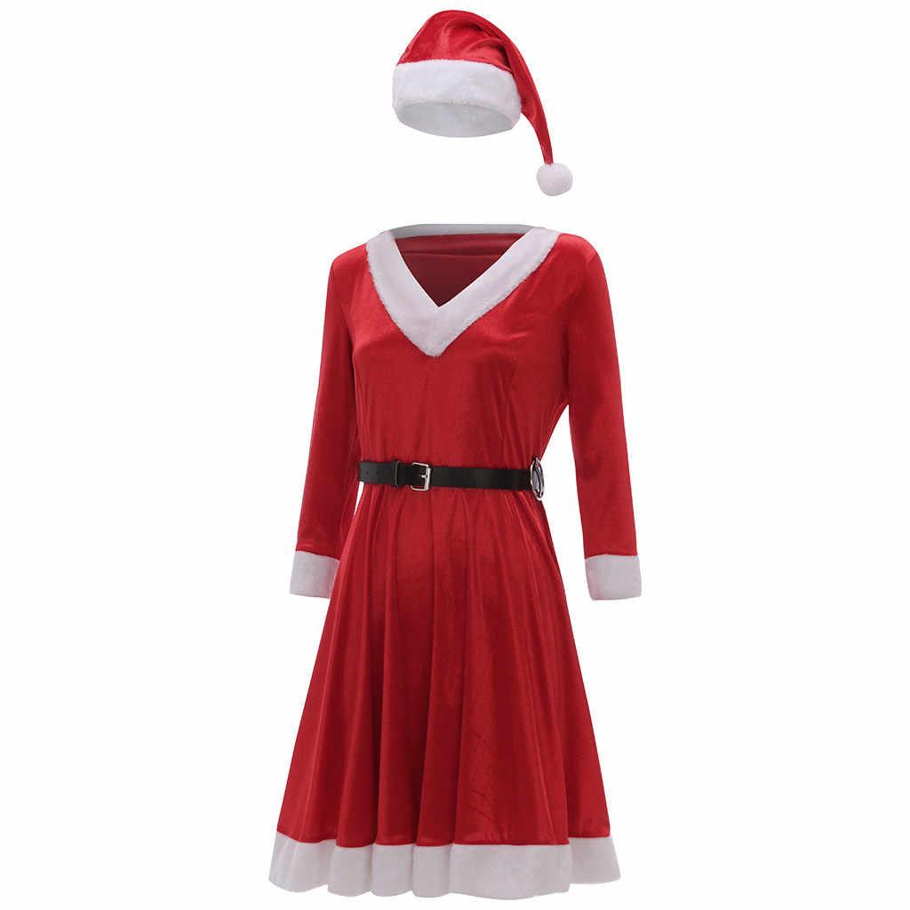 여성 크리스마스 솔리드 v 넥 긴 소매 벨벳 테리 미니 드레스 + 벨트 + 모자 플러스 사이즈 vestidos de verano 플러스 사이즈 드레스 섹시한