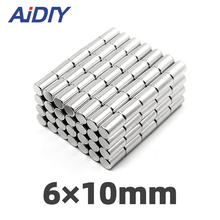 AIDIY 5/20/100 pcs 6x10mm permanent magnet small round super strong powerful rare earth magnets neodymium 6*10mm