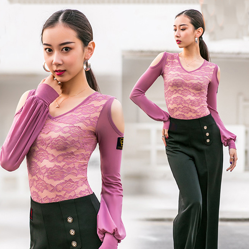 New Latin Dance Dress Lace Top Women Dancing Top Practice Clothing Performance Dance Costume Ballroom Dance Black Latin Top 3193