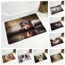 Pet Animal Flannel Carpet Floor Mat for Hallway Bedroom 40x60cm Rug Dog Australian Shepherd Door Mat Non-Slip Decor Pet Doormat
