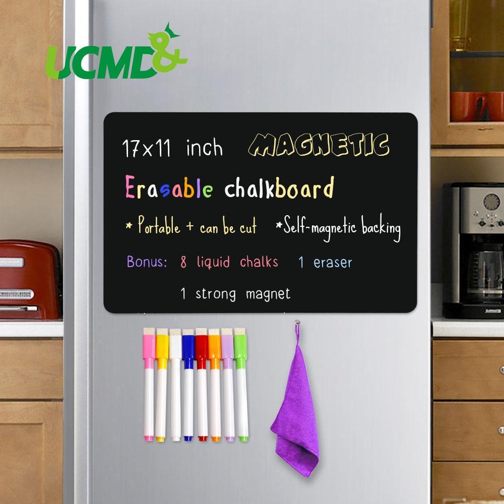 Magnetic Erasable Chalkboard Sheet Blackboard Black Writing Message Board Calendar Kitchen Fridge Sticker Free Pen Eraser 17*11