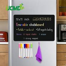 "Magnetic Erasable Chalkboard Sheet Blackboard Black Writing Message Board Calendar Kitchen Fridge Sticker Free Pen Eraser 17*11"""