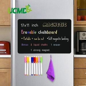 "Magnetic Erasable Chalkboard Sheet Blackboard Black Writing Message Board Calendar Kitchen Fridge Sticker Free Pen Eraser 17*11""(China)"