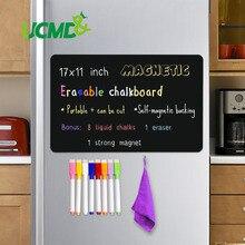 """Magnetische Löschbaren Tafel Blatt Tafel Schwarz Schreiben Message Board Kalender Küche Kühlschrank Aufkleber Kostenloser Stift Radiergummi 17*11"""""""