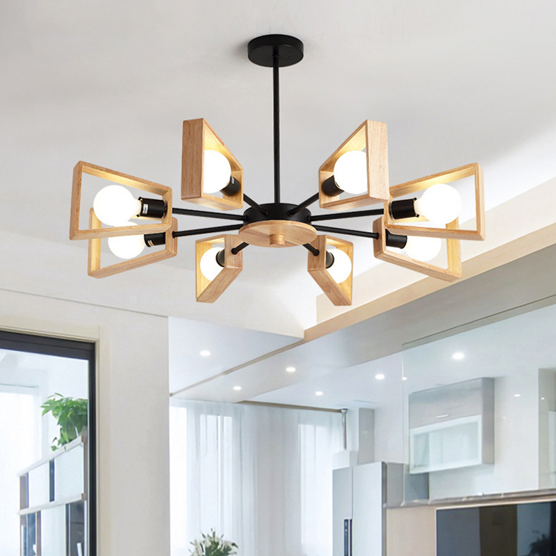 Black White Modern Chandelier Tree Lighting 3 5 6 8 Lights E27 Windmill LED Nordic Wooden Hanging Light for Living Room Bedroom