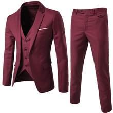Burgundy masculino ternos noivo wear smoking 3 peça ternos de casamento padrinhos melhor homem formal terno de negócios para homem (jaqueta + calça + colete)