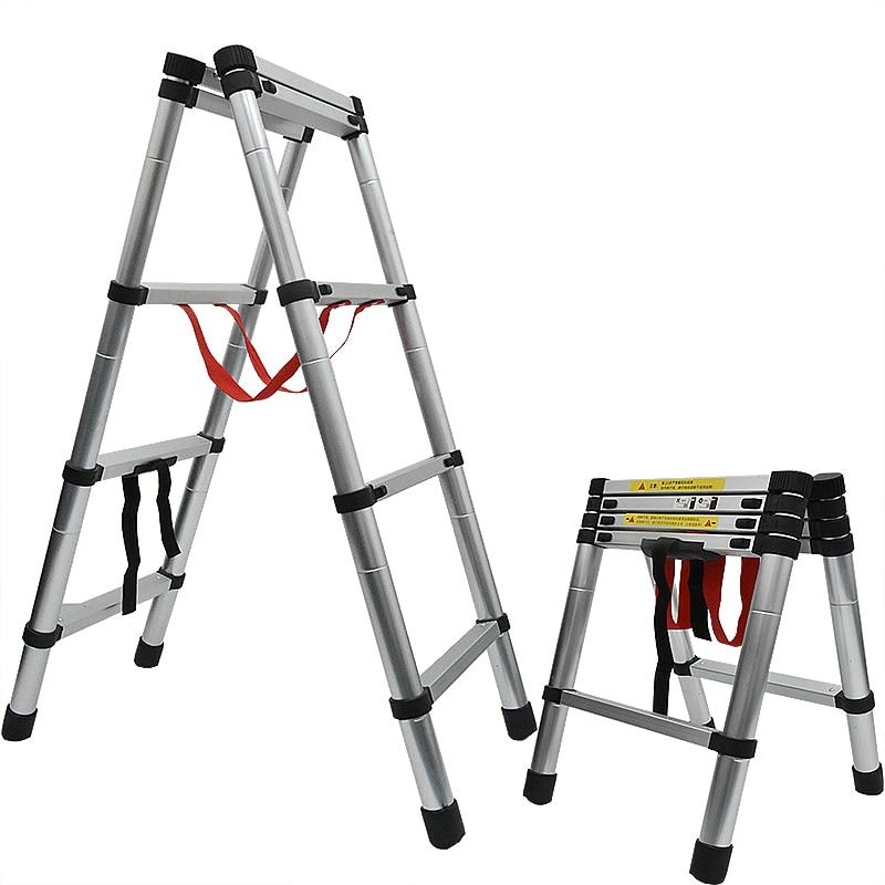 1.4M+1.4M Thickened Aluminum Alloy Telescopic Ladder Multi-purpose Herringbone Ladder Portable Home Folding Engineering Ladder