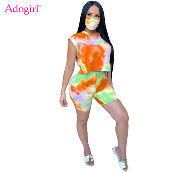 Adogirl Tie Dye Print Two Piece Set O Neck Cap Sleeve Crop Top T Shirt Shorts Summer Fashion Casual Home Tracksuit