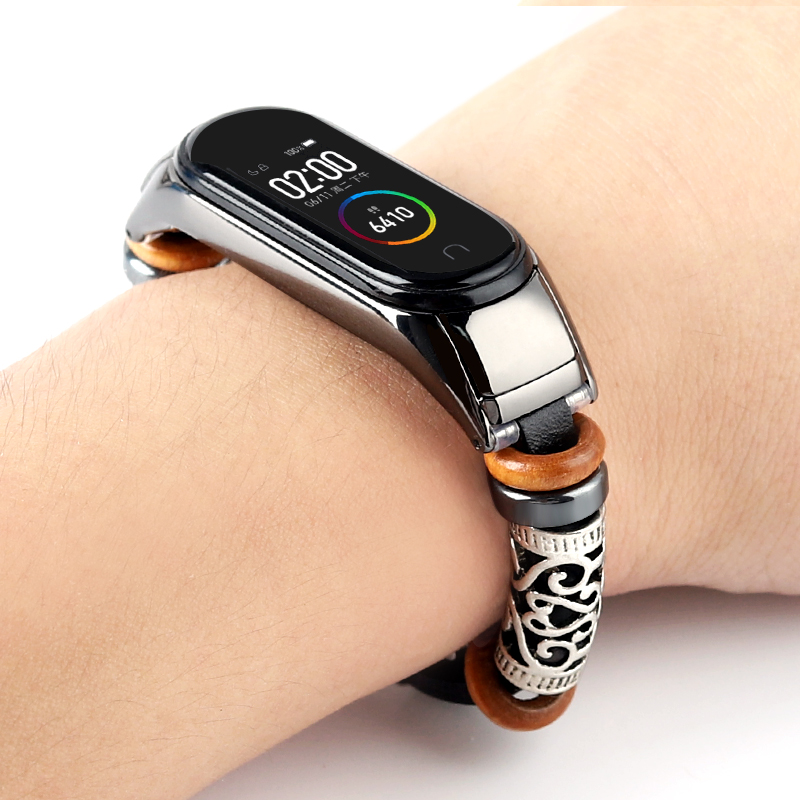 Leather Bracelet For Mi Band 4 Strap Metal Stainless Steel Decoration For Xiaomi Mi Band 3 Strap Miband 4 Wristbands Accessories