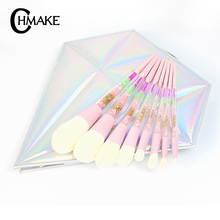 CHMAKE 8pcs diamond colorful makeup brush set professional make up brushes high quality cosmetic tools kit with makeup brush bag