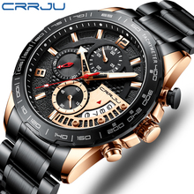 цена на CRRJU black classic chronograph date quartz clock men watches Top Brand Luxury sport waterproof watch for men  Relogio Masculino