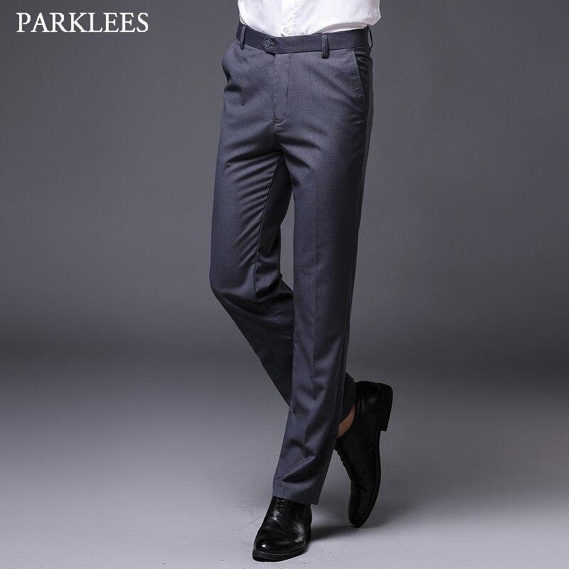 Pantalones De Vestir Rectos Formales De Negocios Grises Para Hombre Pantalones Delgados A Estrenar De 2020 Con Parte Delantera Plana Pantalones De Vestir Para Novio Y Boda Para Hombre Pantalones Informales Aliexpress