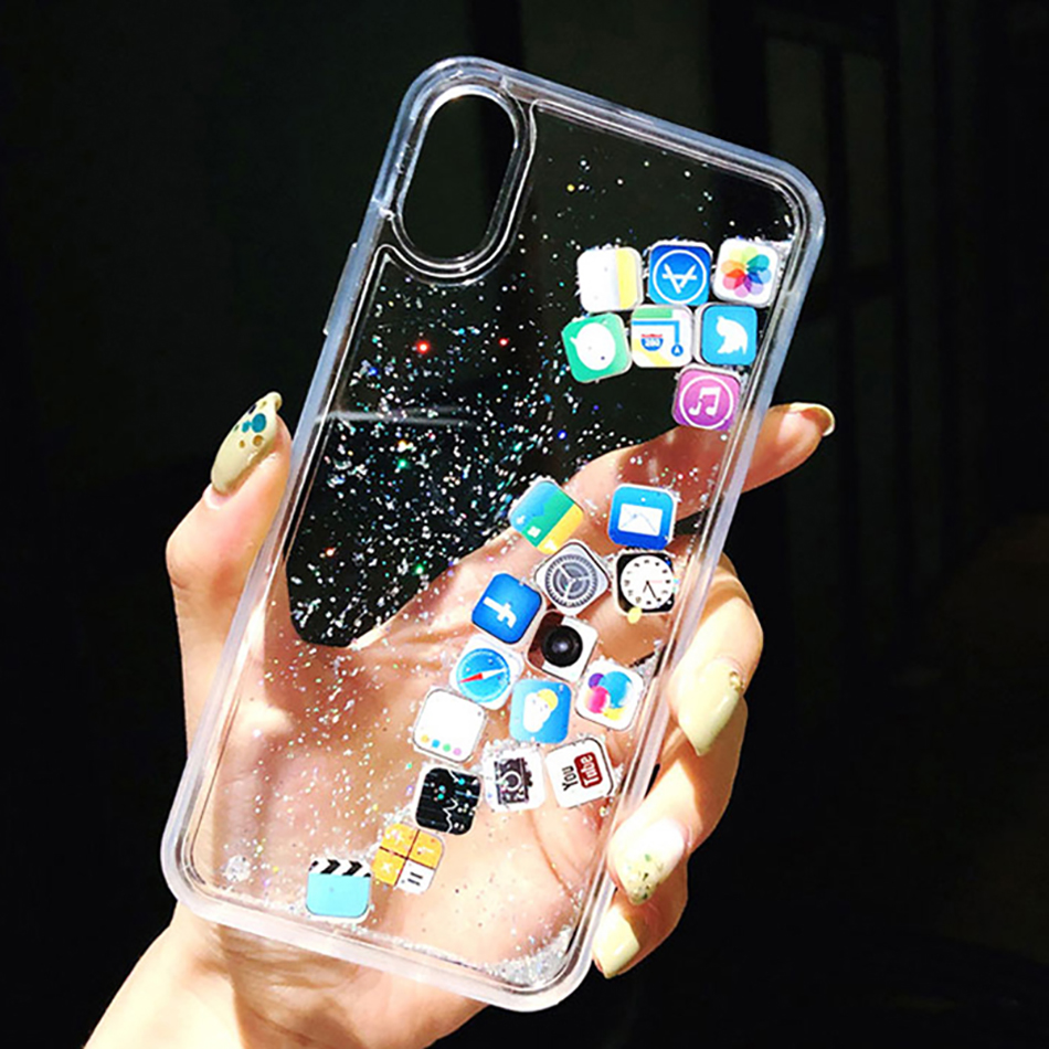 Luxury Dynamic Liquid Glitter Phone Case For IPhone 11 Pro 6 7 8 Plus Quicksand Cover Cute APP Icon Case For IPhone X XR XS MAX