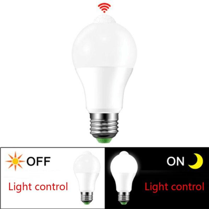 E27 LED PIR Motion Sensor Lamp 10W 85-265V Dusk To Dawn Night Light Bulb Home