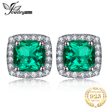 2014 Brand  Hot Stylish Jewelry Women 2.5ct High Quality Nano Russian Emerald Earrings Stud Set Pure 925 Solid Sterling Silver