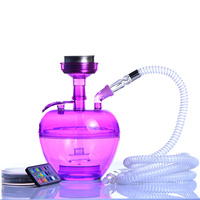 4 Color Acrylic Hookah Cup LED Light Shisha Pipe Narguile with Chicha Plastic Hose Stainless Steel Bowl Charcoal Holder Sheesha