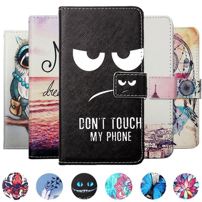Hot! Cartoon Pattern PU Leather Cover Case Flip Card Holder Cover For Casper VIA V10 Wallet Phone Cases image