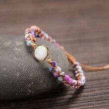 Top Quality Women Bracelets Opal Natural Stone 4mm Beads 2 Rows Leather Wrap Bracelet Fancy Femme Boho Bracelets Dropship New