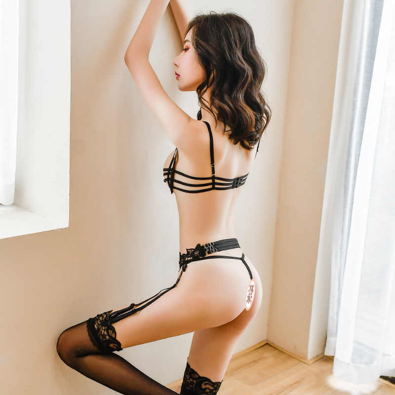 Mới Nhất Garters Và Cổ Với Thắt Lưng Thiết Kế Quai Garterbelt Crotchless Quần Cho Nữ Áo Lót Có Mở Áo Cúp Ngực