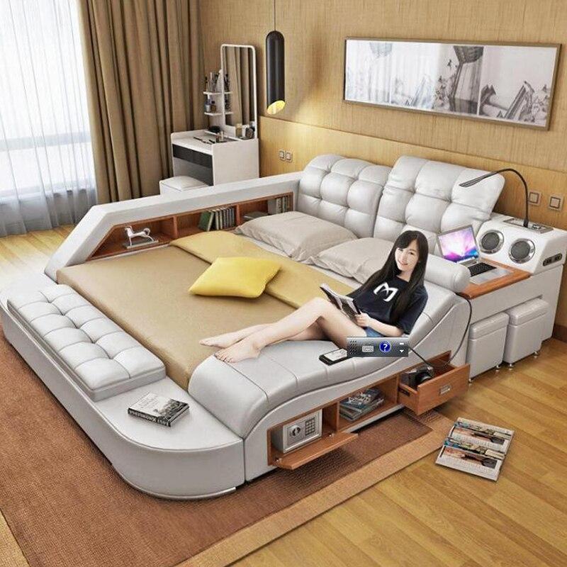 King Size Bedroom Furniture Genuine Leather Soft Bed Bedroom Furniture Tatami Soft Bed Hp002