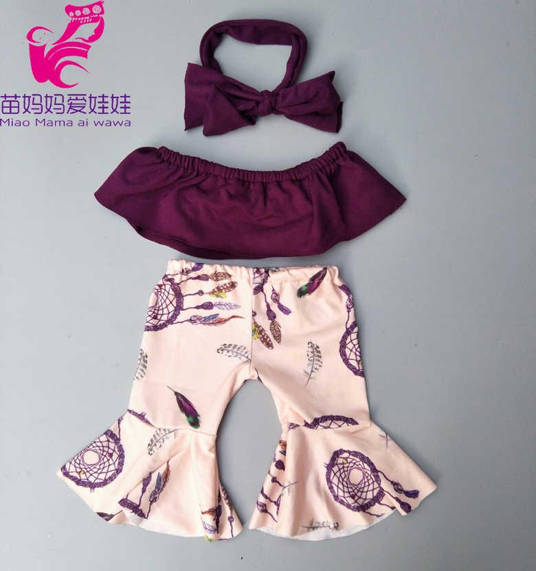 "Pakaian Boneka untuk 17 Inch Lahir Boneka Pakaian Bell Bawah Celana Lebar Kaki Celana untuk 18 ""Gadis Boneka fashion Kostum"