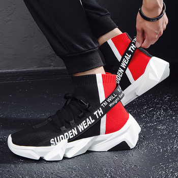 Shoes Men Sneakers Spring Summer High Top Sock Sneakers Male Casual Outdoor Walking Shoes Lightweight